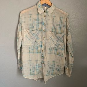 Free People Sheer Plaid Blouse
